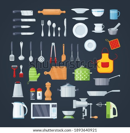 House cookware utensils for cooking, metallic and ceramic kitchen crockery. Kitchenware cooking objects, equipment for cooking, cups, dishes, bowls, knives, cutlery, pots, meat grinder, mixer vector