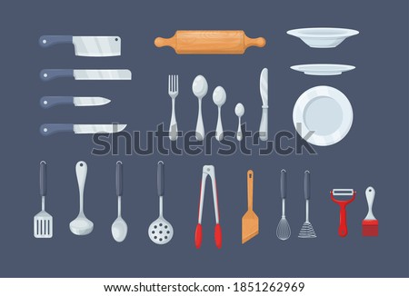 House cookware utensils for cooking. Set of kitchen knives, cutlery forks, spoons, set of ladles, potholders, tongs, spatulas, plates, whisks and brushes for baking, peel cleaner cartoon vector Stockfoto ©