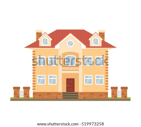 house cottage in flat style on