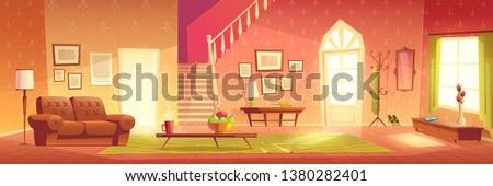 House cozy hall, home living room, spacious antechamber, anteroom or vestibule interior cartoon vector with sofa, coat hanger, fruits on coffee table, carpet on floor and wooden stairway illustration