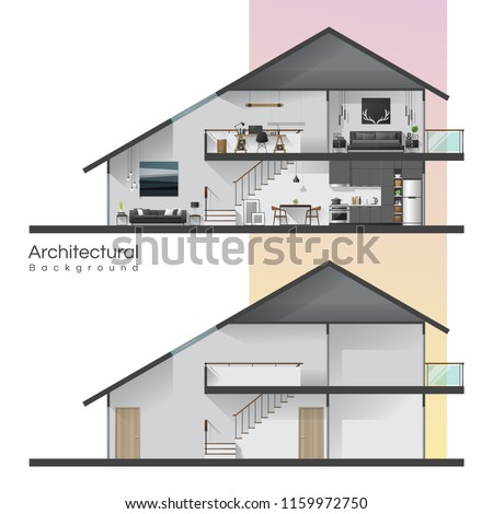 House cross section with furniture and empty house , vector , illustration Stock photo ©