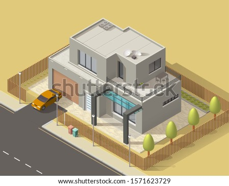 house 3d isometric design with