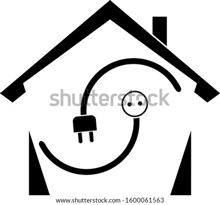 House, electricity plug and electricity socket, electrician logo