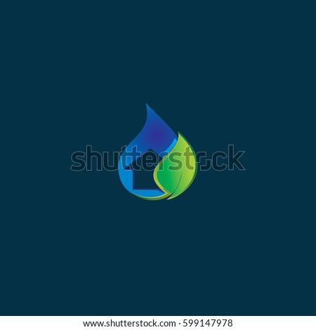 Stock Photo house end green leaf logo