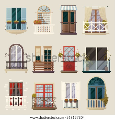 House exterior design ideas with modern vintage and classic balconies style building facade elements collection vector illustration