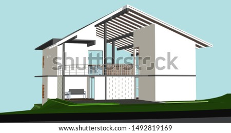 House exterior. Minimalist family home with a good view and perspective view. Vector illustration of house exterior. -Vectors