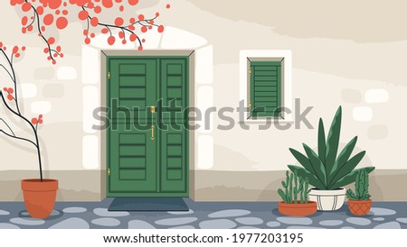 House exterior with front door and window with closed shutters. Home wall with doorway, mat, and potted plants. Dwelling building facade. Colored flat vector illustration of entrance Stockfoto ©