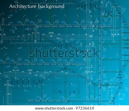 House facade on blue background. Vector blueprint