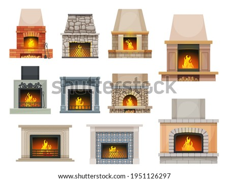 House fireplace with firewood flames. Home open cartoon vector hearth fireplaces made of bricks, stone and decorated ceramic tiles mantel, metal grates, poker and shove, wood chunks Foto stock ©