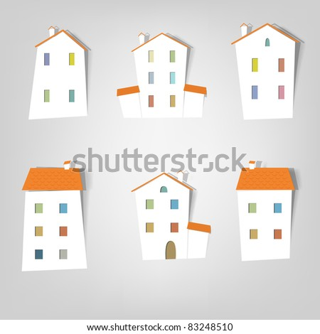 House. Flat icon set