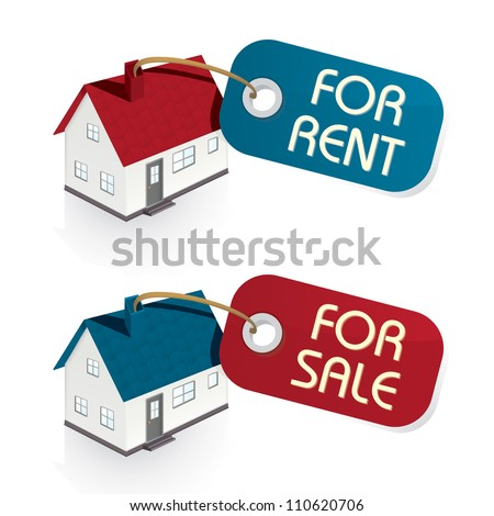 House for Sale and for Rent Vector Tags