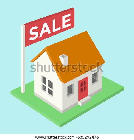 House for sale isometric vector illustration