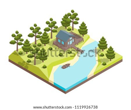 house forest lake concept 3d