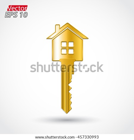 house form key 3d gold object / vector illustration