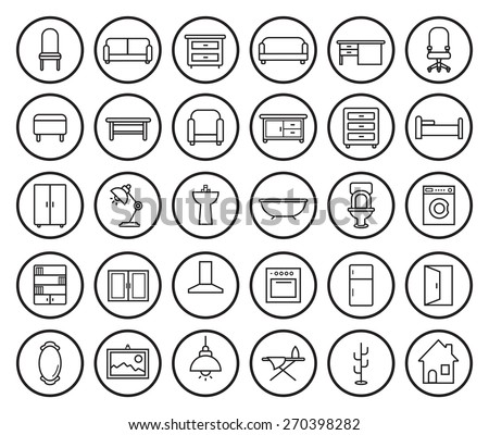 furniture set clipart black and white. house furniture linear icons set vector clip art illustrations isolated on white clipart black and a