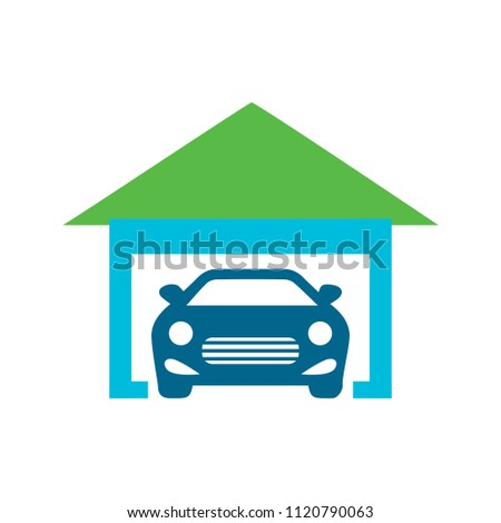 house garage icon, real estate car concept house garage - parking