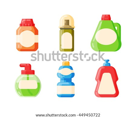 House Hold Bottle Template And Container Pack Design