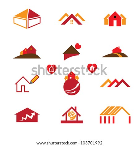 House, home and office logo template icons for real estate business requirements like business cards, brochures, websites, etc.