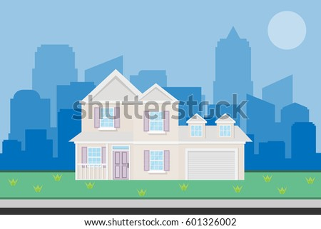 house home building with garden