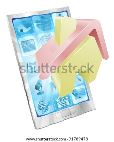 House home icon coming out of phone screen concept