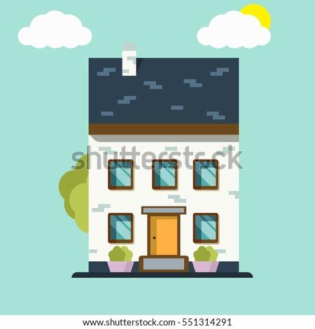 House. Home icon logo. Flat design vector concept illustration.