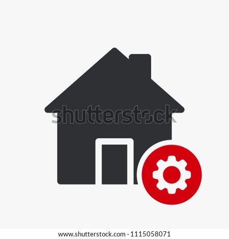 House icon, buildings icon with settings sign. House icon and customize, setup, manage, process symbol. Vector illustration