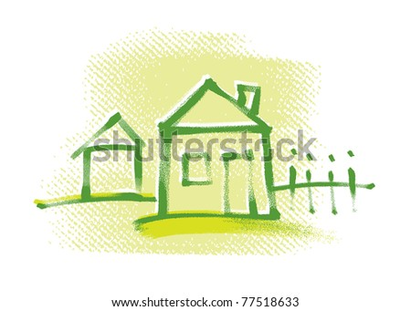 house icon, freehand drawing, vector