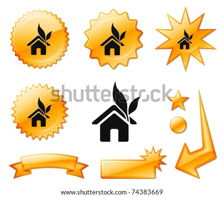 House Icon on Orange Burst Banners and Medals Original Vector Illustration - stock vector