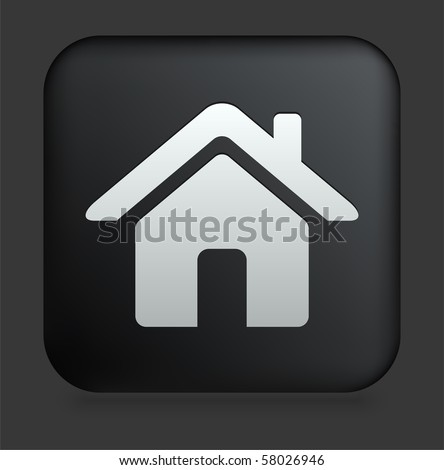 House Icon on Square Black Internet Button Original Illustration