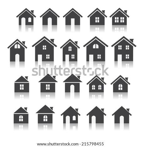 house icon set stock vector 215798455 shutterstock. Black Bedroom Furniture Sets. Home Design Ideas