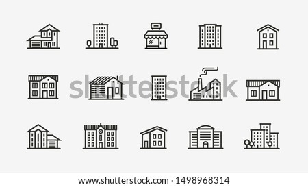 House icon set. Building, building symbol. Vector illustration