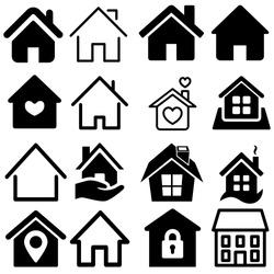 House Icon Set. House vector illustration symbol.