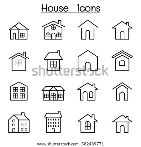 House icon set in thin line style