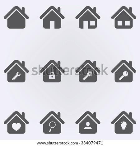House Icon Set . Vector illustration