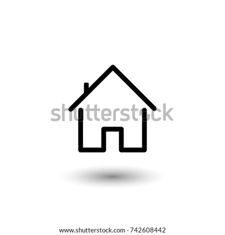 House icon with door, outline simple vector with rounded edges
