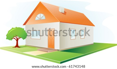 House icon with red roof and garden