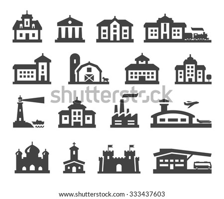 house icons set. collection elements fortress, farm, college, bus station, railway station, airport, fortress, church, factory, bank, mansion, hotel, barn, construction, real estate
