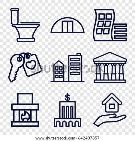 House icons set. set of 9 house outline icons such as modern curved building, court, toilet, cargo barn, heart key, building, house insurance, bank