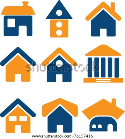 house icons, vector - stock vector