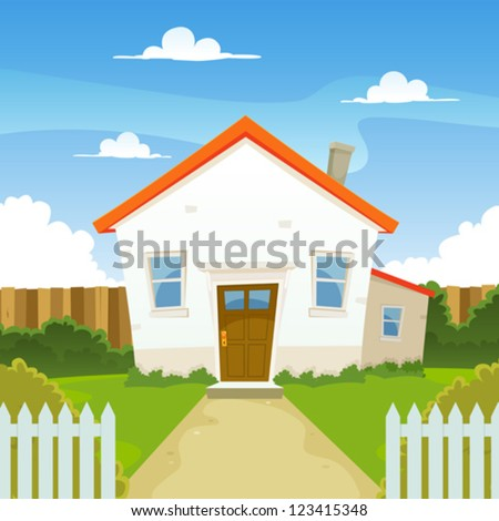 House/ Illustration of a cartoon house in spring or summer season, with backyard garden, fence and hedges