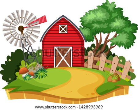 House in countryside background  illustration