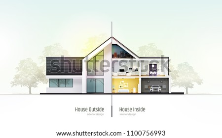 house in cross section modern