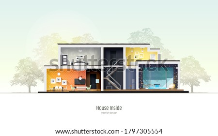 House in cross-section. Modern loft style house, villa, cottage, townhouse with shadows. Architectural visualization of a three storey cottage inside and outside. Realistic vector illustration. Сток-фото ©