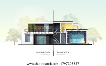House in cross-section. Modern loft style house, villa, cottage, townhouse with shadows. Architectural visualization of a three storey cottage inside and outside. Realistic vector illustration.