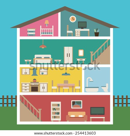 House in cut. Detailed modern interior inside house. Rooms with furniture.  Flat style vector illustration.