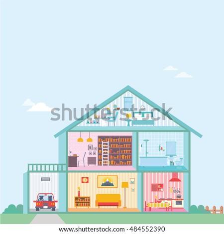 house in cut plan inside flat
