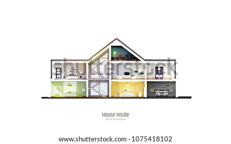 House in cut. Three-storey cottage inside with rooms, garage and modern interior with furniture. Modern house isolated on white background. Architectural visualization. Realistic vector illustration. Stock photo ©