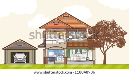 House in cut vector illustration.