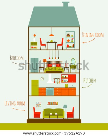 house in cut vector rooms with