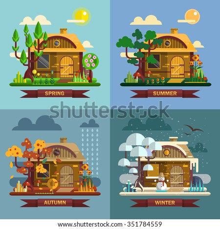 house in different times of the
